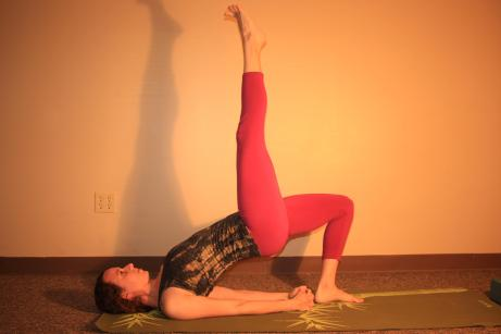 One Legged Bridge: for some fun, lift one leg into the air by bringing the leg into chest and then straightening it out.