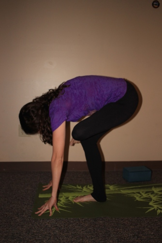 Standing Pigeon variation: Bend over until your fingers touch the ground or a block. This will get nice and deep into your IT band and outer hip.