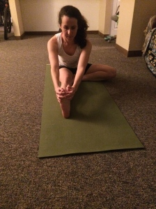 Seated Head to Knee Pose: The key to making this posture good for plantar faciitis prevention is to really flex your extended foot. Keep your back long and try to draw the chest forward.