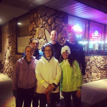 This is my Wednesday run group! We usually run 3-4 miles together, chat and head home or drink!