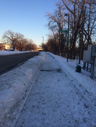 Looking at this picture, I guess I should have been running on the road. The sidewalk does look real icy.