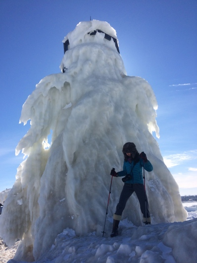 This is a lighthouse covered in ice. Pretty cool!