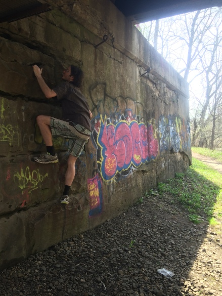Frank decided to do a little climbing while on our hike.
