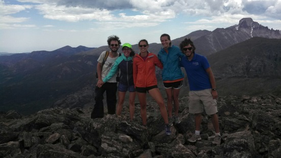 My friends and I at the top of Hallett Peak!